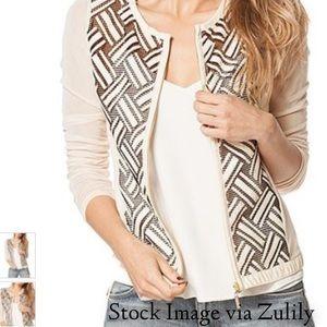 Beige Basket Print Sheer Zip-Up Jacket